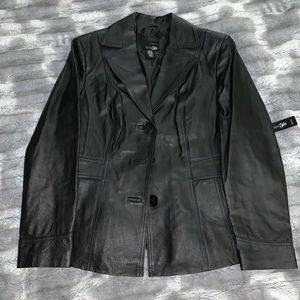 Women's Petite Black Leather Jacket